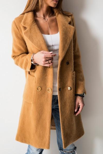 Luksusowy Płaszcz Moher Camel