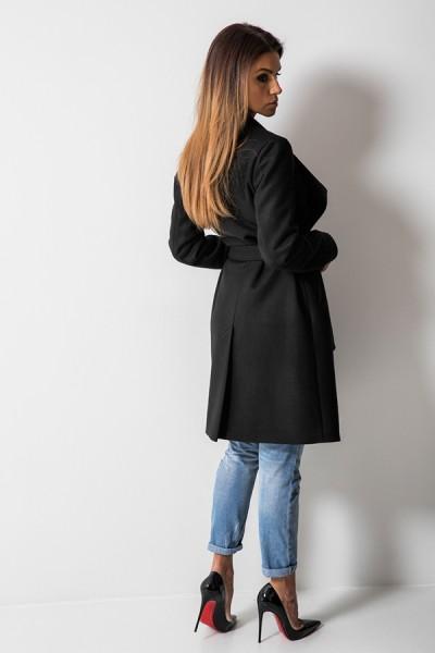 Taliowany Płaszcz Wiązany Czarny