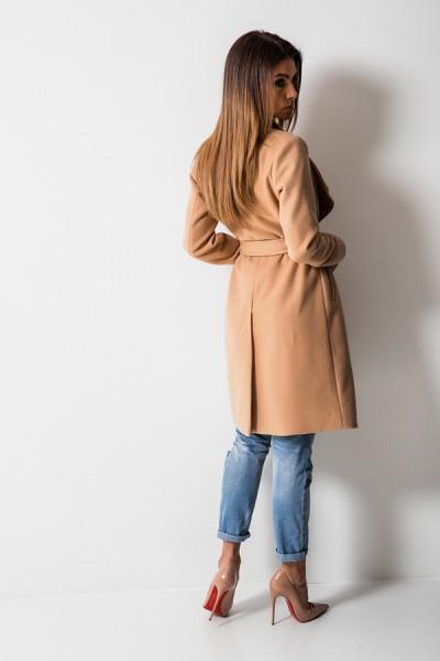 Taliowany Płaszcz Wiązany Camel