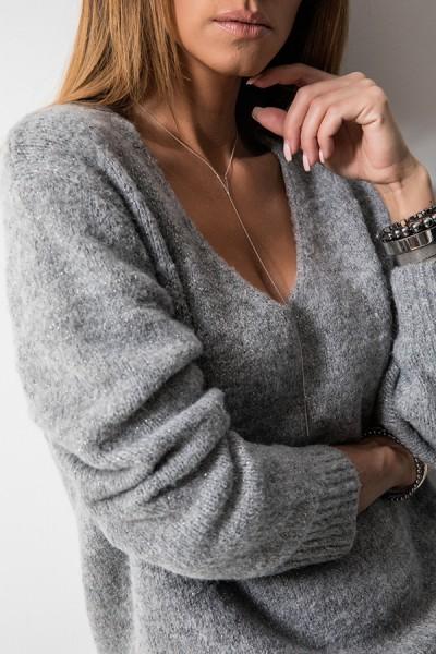 CH115 Klasyczny Sweter Szary