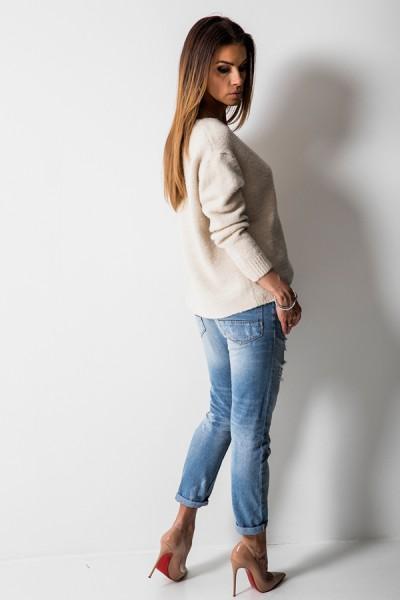 CH115 Klasyczny Sweter Beż