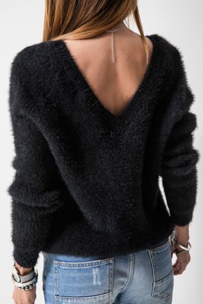 SC1750 Sweter Dekolt Czarny
