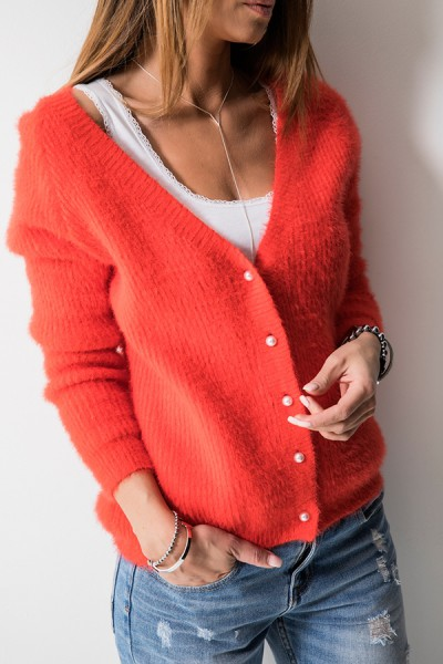 M808 Sweter Zapinany Orange