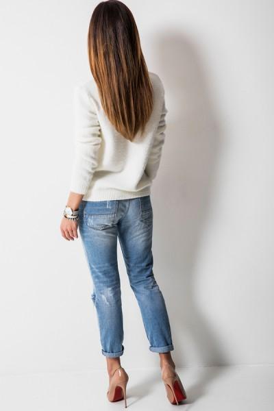 K7899 Klasyczny Sweter Ecru