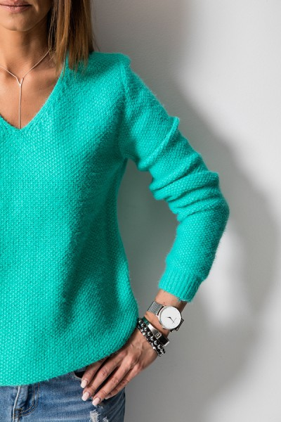 K7899 Klasyczny Sweter Miętowy