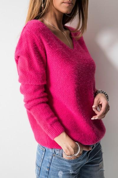 K7899 Klasyczny Sweter Amarant