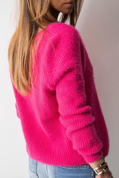 M808 Sweter Zapinany Amarant