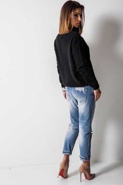 K7899 Klasyczny Sweter Czarny