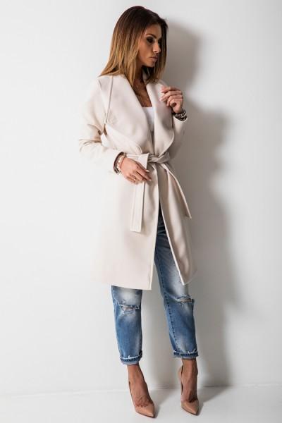 Taliowany Płaszcz Wiązany Ecru