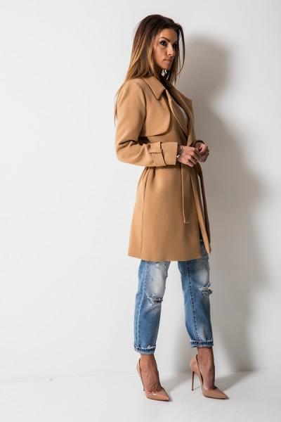 Elegancki Płaszcz Trencz Camel