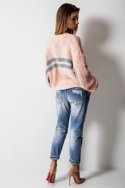 5525 Sweter Oversize Róż