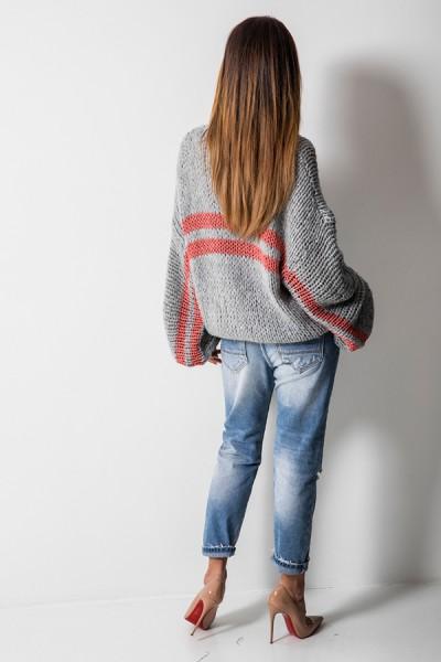 5525 Sweter Oversize Szary