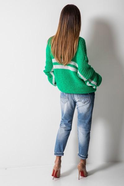 5525 Sweter Oversize Zielony