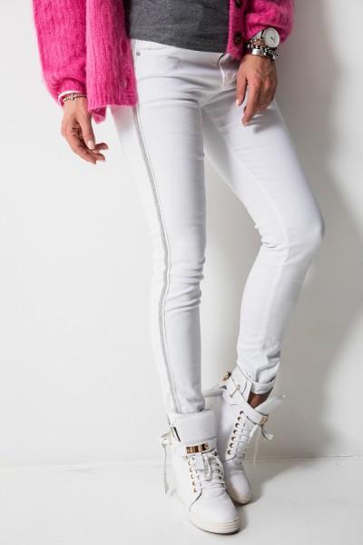 8166 Spodnie Baggy Lampas Białe