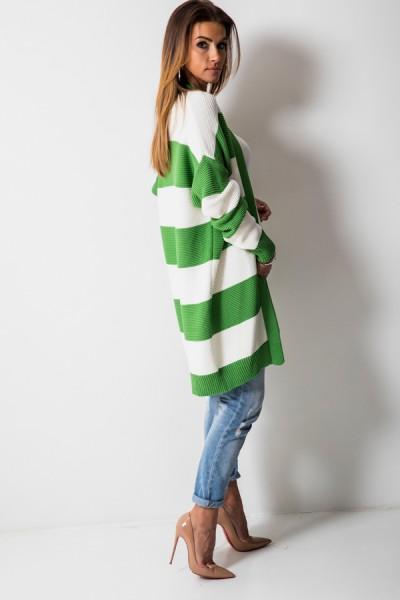 Klasyczny Kardigan Paski Zielony