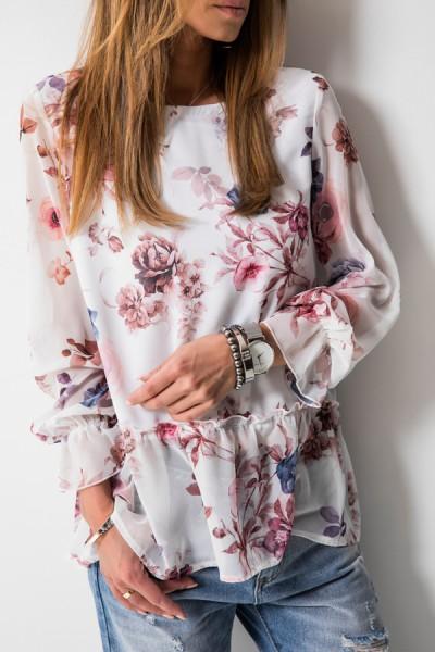 Arielle Bluzka Kwiaty Biel