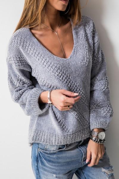 Asymetryczny Sweter Szary