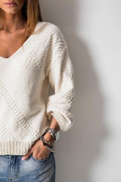 Asymetryczny Sweter Ecru