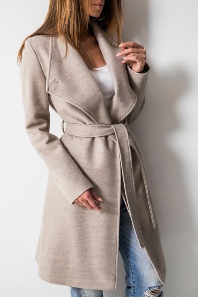 Taliowany Płaszcz Wiązany Beż