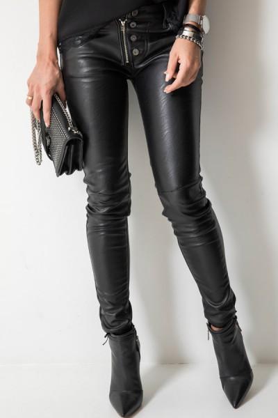 Spodnie Skóra Guziki Czarne