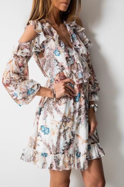 Justine Sukienka Kwiaty Ecru