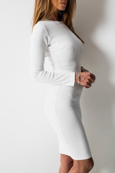 Kobieca Dopasowana Sukienka Midi Biel