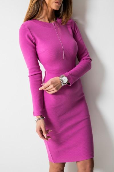Kobieca Dopasowana Sukienka Midi Fuksja
