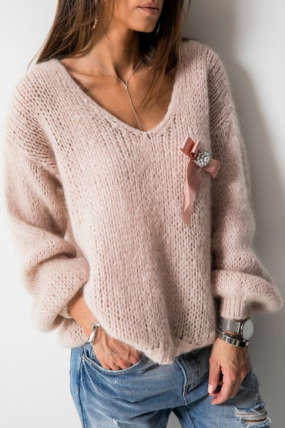 Sweter Moher Broszka Róż