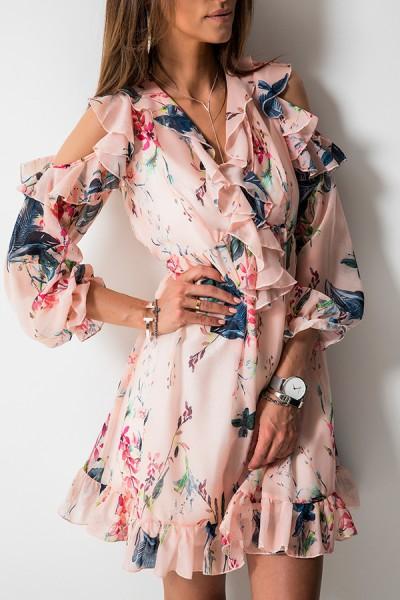 Justine Sukienka Kwiaty Peach