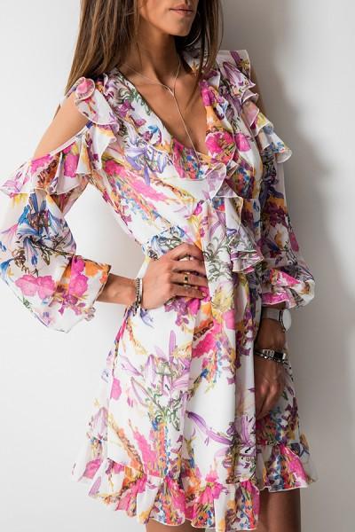 Justine Sukienka Kwiaty Biel