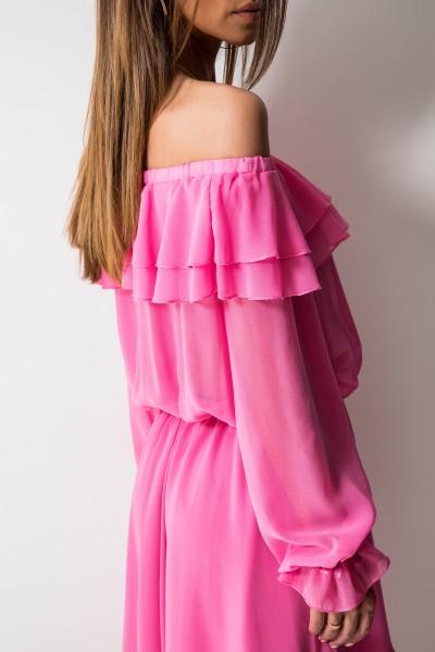 Milagros Asymetryczna Sukienka Maxi Róż