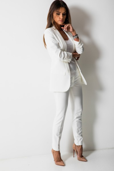 Bristol Eleganckie Spodnie Biel