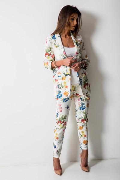 Floral Spodnie Kwiaty Ecru