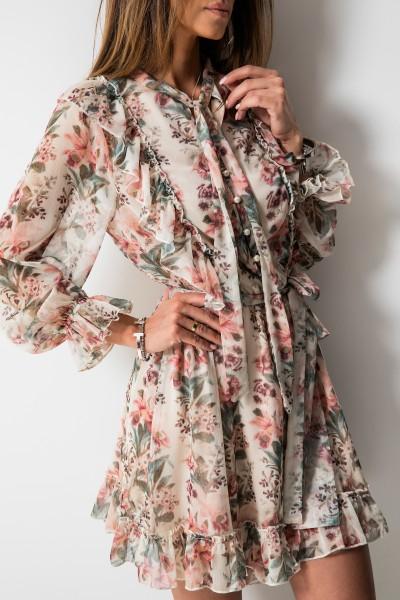 Luana Sukienka Kwiaty Ecru