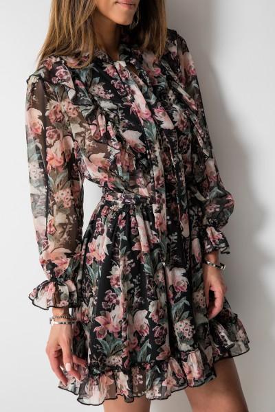 Luana Sukienka Kwiaty Czarna