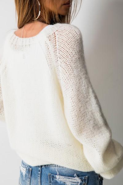 Klasyczny Sweter Moher Ecru