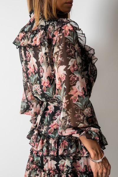 Siena Sukienka Kwiaty Maxi Czarna