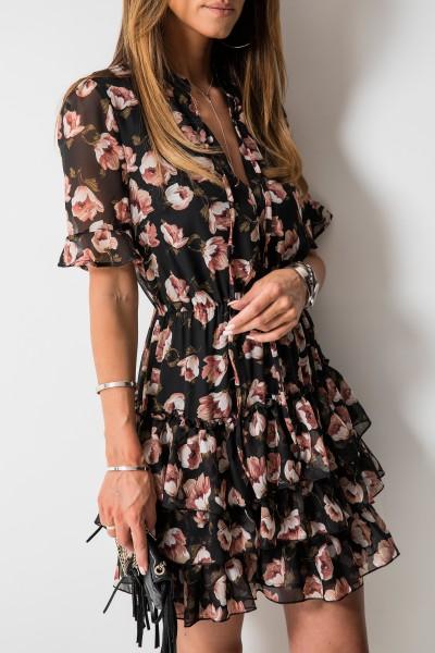 Laurelle Sukienka Kwiaty Czarna