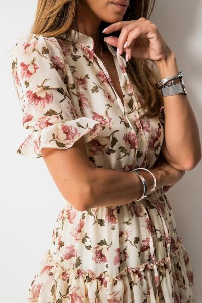 Laurelle Sukienka Kwiaty Ecru