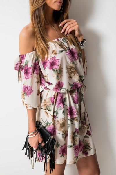 Cheryl Sukienka Kwiaty Beż