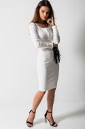 Dopasowana Sukienka Midi Guziki Biel