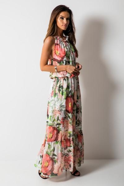 Catrice Sukienka Kwiaty Maxi Peach