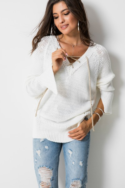 Sweter Wiązanie Long Biel