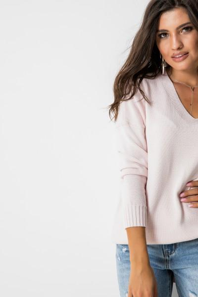 Asymetryczny Sweter Pudrowy Róż Long
