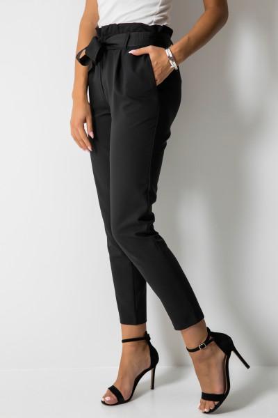 Eleganckie Spodnie Wstążka Czarne