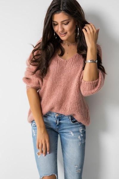 Sweter Moher Dekolt Róż