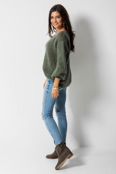 Sweter Moher Dekolt Zielony