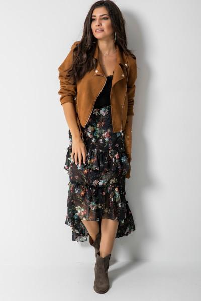 Asymetryczna Spódnica Maxi Kwiaty Czarna