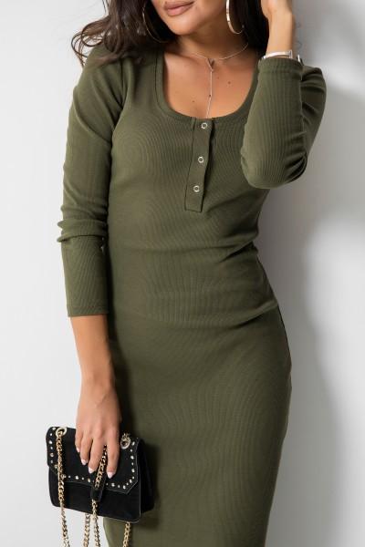 Suzanne Sukienka Midi Guziki Khaki