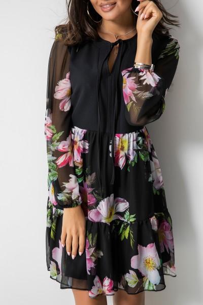 Fiorella Sukienka Kwiaty Czarna